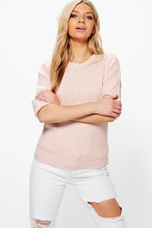 Boohoo Florence Crew Neck Ribbed Jumper Pink