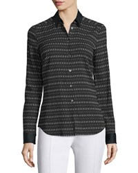 Cnc Costume National Long Sleeve Button Front Printed Shirt Black White Women's