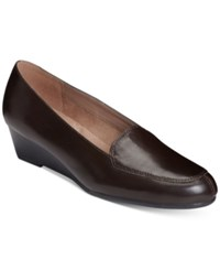 Aerosoles Lovely Wedge Flats Women's Shoes Dark Brown Leather