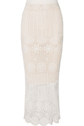 Alice Olivia Griselda Crocheted Linen Blend Maxi Skirt