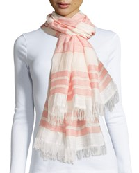 Soft Sequin Striped Scarf W Fringe Rosebud Multi Women's Rosebud Multi Lafayette 148 New York
