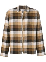 Tres Bien Plaid Zip Jacket Cotton Brown