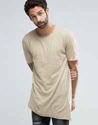 Pull And Bear Pullandbear Asymmetric T Shirt In Sand Sand Beige
