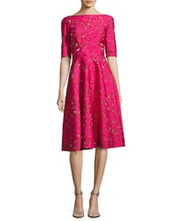 Lela Rose Floral Jacquard Elbow Sleeve Full Skirt Dress Fuchsia