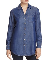 Foxcroft Chambray Button Down Tunic Navy Gold
