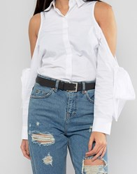 Asos Leather Silver Buckle Waist And Hip Belt Black