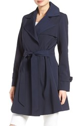 Trina Turk Women's 'Phoebe' Double Breasted Trench Coat Navy