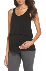Belabumbum Maternity Nursing Layered Sleep Tank Black