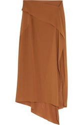 Donna Karan Draped Georgette Wrap Skirt Brown