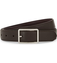 Paul Smith Cut To Fit Saffiano Leather Belt Dark Brown