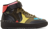 Valentino Green Multicolor Camo High Top Sneakers