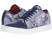 Etro Paisley Leather Toe Sneaker Blue Paisley Men's Lace Up Casual Shoes