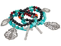 Gypsy Soule Heart Cross Set Of 4 Stretch Bracelets Black Red Turquoise Bracelet