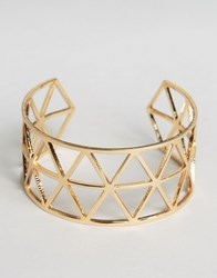 Ny Lon Nylon Geo Cut Out Cuff Bracelet Rose Gold