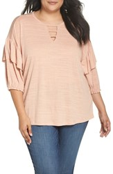 Wit And Wisdom Plus Size Ruffle Sleeve Top Cafe Creme