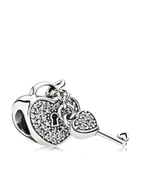 Pandora Design Pandora Charm Sterling Silver And Cubic Zirconia Lock Of Love Moments Collection Silver Clear