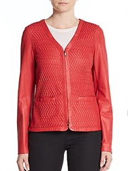 Escada Woven Leather Jacket Bright Red