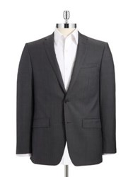 Dkny Wool Double Button Suit Jacket Grey