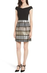Ted Baker London Cotton Reels Embroidered Dress Black