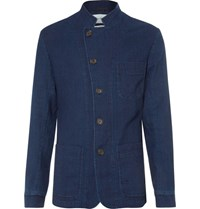 Oliver Spencer Blue Washed Cotton Canvas Blazer Indigo