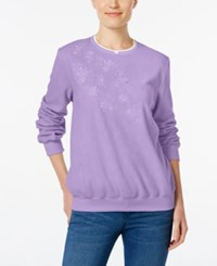 Alfred Dunner Embroidered Fleece Sweater Lilac