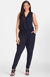 Mynt 1792 Sleeveless Gathered Jersey Jumpsuit Plus Size Patriot Blue
