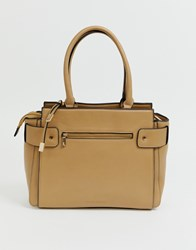 Melie Bianco Structured Tote Bag Beige