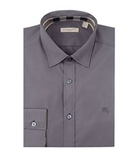 Burberry Brit Check Insert Stretch Cotton Shirt Male Grey