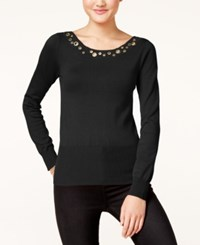 Xoxo Juniors' Grommet Trim Sweater Black