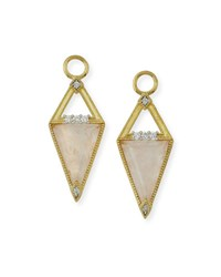 Jude Frances Lisse 18K Small Morganite Trillion Earring Charms With Diamonds Gold