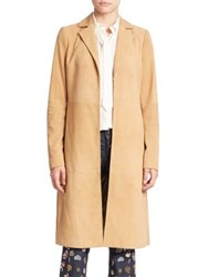 Alice Olivia Logan Suede Coat Tan