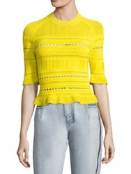 3.1 Phillip Lim Compact Pointelle Lace Raglan Tee Antique White Canary