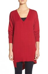 Vince Camuto Drop Stitch Asymmetrical V Neck Sweater Regular And Petite Crimson