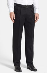 Men's Big And Tall Nordstrom Smartcare Relaxed Fit Double Pleated Cotton Pants Black