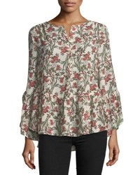 Max Studio Long Sleeve Floral High Low Blouse Multi Pattern
