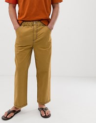 Asos White Relaxed Trousers In Mustard With Contrast Stitching Yellow