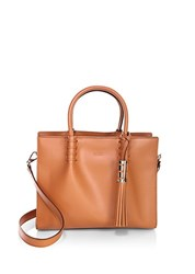 Tod's Magnetic Snap Leather Satchel Light Brown