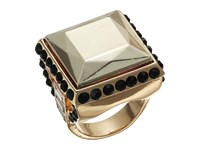 Guess Square Stone Ring Jet Gold Crystal Ring Multi