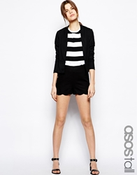 Asos Tall Shorts In Linen With Scallop Hem Black