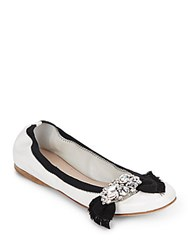 Miu Miu Jeweled Patent Leather Ballet Flats Bianco