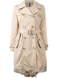 Moncler Belted Trench Coat Nude And Neutrals
