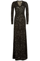 Roberto Cavalli Floor Length Jacquard Gown Gold