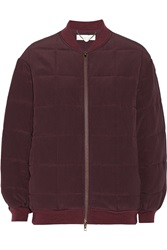 Stella Mccartney Elenore Quilted Crepe Bomber Jacket Red
