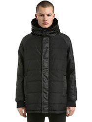 Emporio Armani Hooded Faux Leather And Nylon Jacket Black
