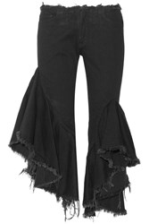 Marques' Almeida Ruffled Frayed Low Rise Flared Jeans Black