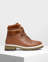 Charles And Keith Speed Lacing Detail Hiking Boots Cognac