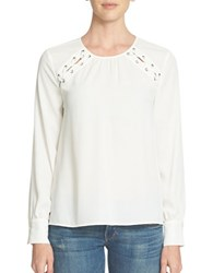 1.State Long Sleeve Shoulder Lace Up Blouse New Ivory