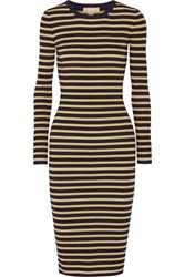 Michael Kors Collection Metallic Striped Stretch Knit Dress Gold
