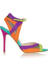 Brian Atwood Iara Mesh Paneled Color Block Suede Sandals Green