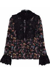 Anna Sui Lace And Tulle Paneled Printed Crepe De Chine Blouse Black